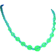Vintage Green Uranium Glass Faceted Bead Necklace