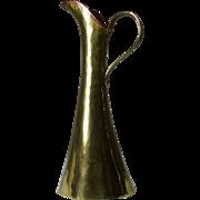 Hand Wrought Brass Pitcher Ewer with Russian Hallmark