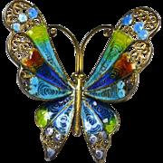 Vintage Italian Plique a Jour Butterfly Brooch Pin 800 Silver
