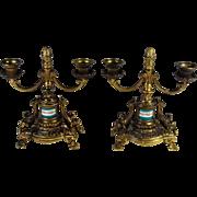Pair of Vintage Candelabras Bronze Wash Porcelain Inset