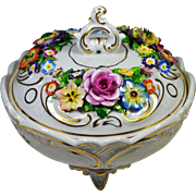 German Porcelain Candy Dish von Schierholz Applied Flowers