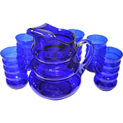 Vintage Cobalt Blue Harpo Pitcher and Tumblers Louie Glass Company