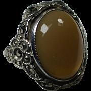 Vintage Peach Moonstone Marcasite Sterling Ring