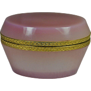 Opaline Glass Casket Box Oval Pink Mauve