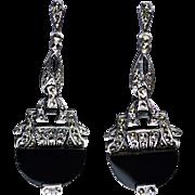 Vintage Art Deco Sterling Onyx Marcasite Dangle Earrings