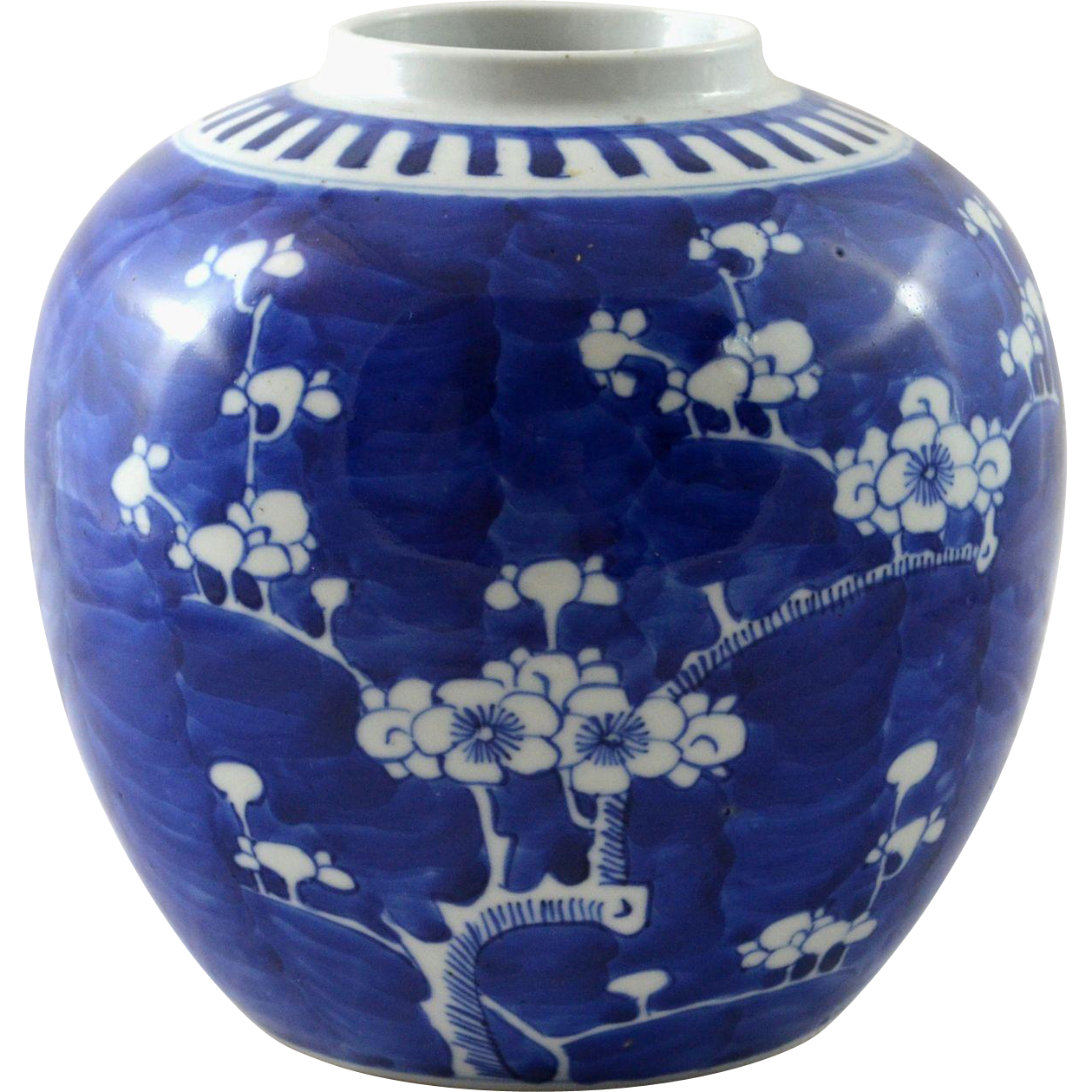 Antique Chinese Cobalt Blue Vase Jar Prunus Or Hawthorn