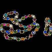 Vintage Colorful Crystal Demi Parure Necklace Bracelet Set