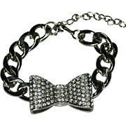 Sparkling Crystal Bow Tie  Stainless Steel Wrist or Ankle Bracelet