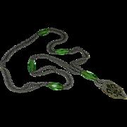 Uranium Glass Art Deco Flapper Sautoir Necklace Fleur-de-lis
