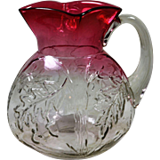 EAPG Northwood Royal Oak Water Pitcher Rubina Glass