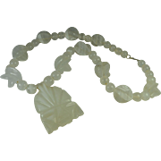Carved Quartz Necklace Aztec Mask Pendant