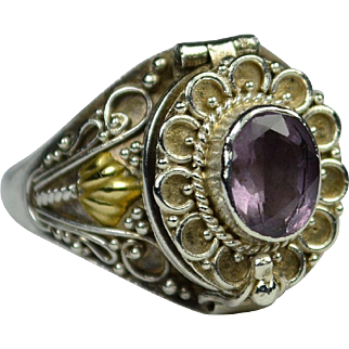 Vintage Silver and Genuine Amethyst Poison Ring