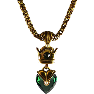 Beautiful Luckenbooth Green Crystal Heart and Crown Pendant Necklace