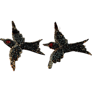 Victorian Hand Beaded Applique Pair Swallows