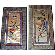 Vintage Chinese Silk Embroidered Panels