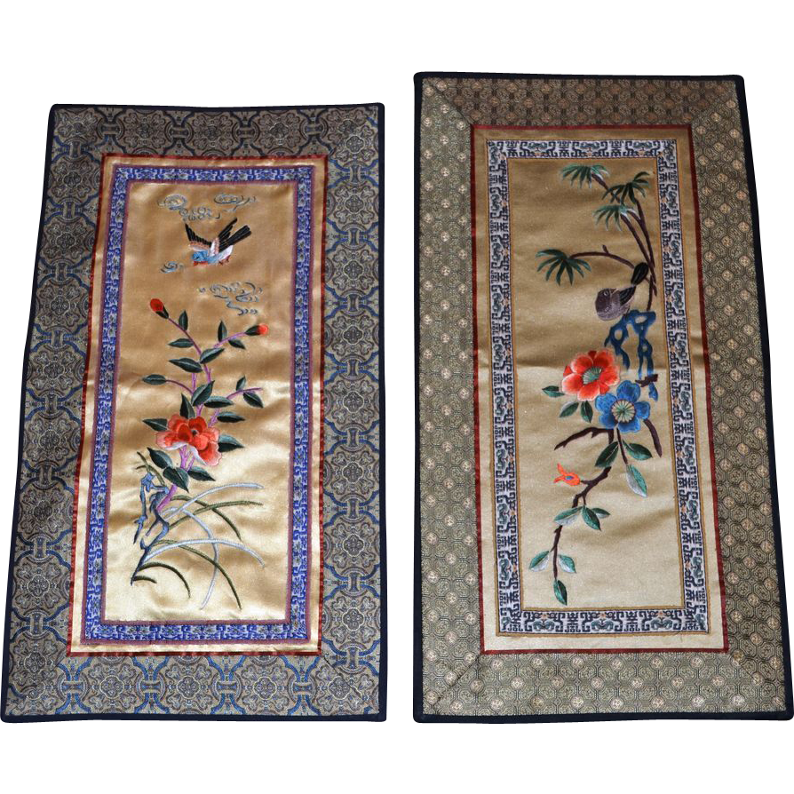 Vintage chinese silk embroidered panels from