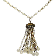 Vintage Clear White Art Glass Tassel Necklace