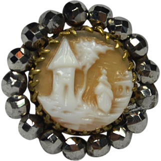Victorian Cameo Cut Steel Tie Tack Lapel Pin Brooch
