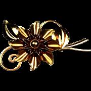 Vintage Truart Sterling Flower Brooch Pin Burgundy Cabachons