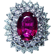 $6,000 EGL Rubellite Tourmaline Diamond Ring 18K White Gold HEAVY Estate Jewelry