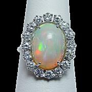 Giant Vintage 5ct Gem Opal Diamond Ring 18K White Gold Estate Jewelry
