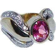 Vintage Rubellite Tourmaline Diamond Ring 14K Gold HEAVY 9gr Estate Jewelry