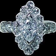 Vintage .50ct center Marquise Round Diamond Ring 14K White Gold Estate Jewelry