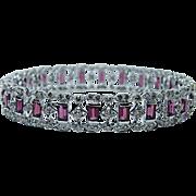 4.5ct Pink Tourmaline 6.5ct Champagne Diamond Bangle Bracelet 18K White Gold HEAVY Estate Jewelry