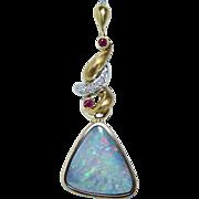 Large Vintage 4ct Black Gem Opal Diamond Ruby Etched Pendant 18K Gold Estate Jewelry