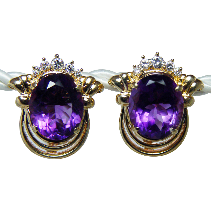 Vintage 11ct Amethyst Diamond Earrings 18K Gold HEAVY ...