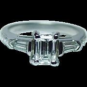 Vintage Platinum .85ct center Emerald cut Diamond 3 stone Engagement Ring Estate jewelry