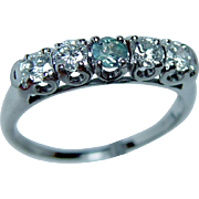 Vintage Natural Alexandrite Diamond Anniversary Ring Band 14K White Gold Estate