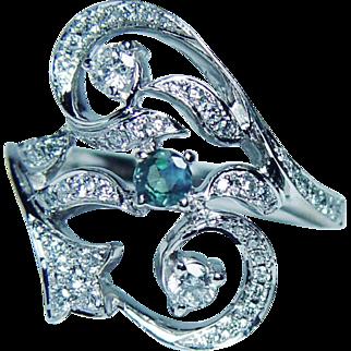 Vintage Natural Alexandrite Diamond Ring 14K White Gold Estate