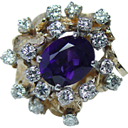 Giant Vintage Amethyst Diamond Ring 18K 14K Gold HEAVY Estate Jewelry