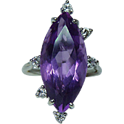 Vintage Amethyst Diamond Ring 14K White Gold 7ct Estate Large!