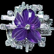Vintage Carved Amethyst Flower Diamond Ring 14K White Gold Estate Futuristic
