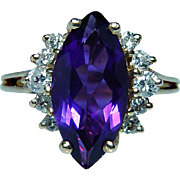 Vintage 14K Gold Amethyst Diamond Ring Estate