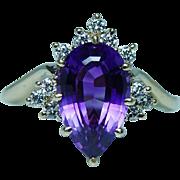 Vintage 18K Gold Amethyst Diamond Cocktail Ring Estate