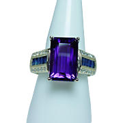 Vintage Amethyst French Sapphire Diamond Ring 18K Gold Estate 7ct Gem