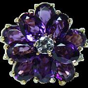 Kurt Wayne Vintage Siberian Amethyst Diamond Ring 18K Gold Heavy Designer Signed Estate