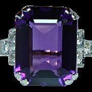 ART DECO Old European Diamond Amethyst Ring 18K Gold Platinum Estate