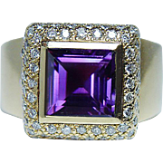 Vintage Amethyst Diamond Pave Ring 18K Gold Heavy Estate