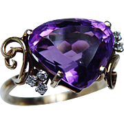 Designer H. Stern Vintage Heart Amethyst Diamond Ring 18K Gold Platinum Signed