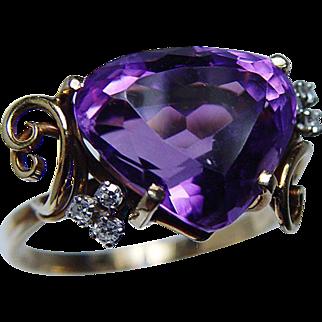 Designer H. Stern Vintage Heart Amethyst Diamond Ring 18K Gold Platinum Signed