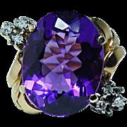 Vintage 15ct Amethyst Diamond Ring 18K Gold HEAVY Estate Jewelry