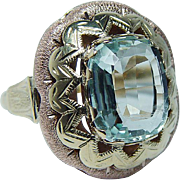Vintage 6ct Cushion Aquamarine Ring 14K Yellow Rose Gold Estate Jewelry