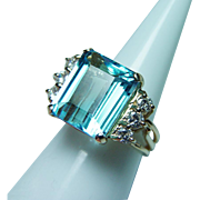 Vintage 9.5ct Aquamarine Diamond Ring 14K Gold Heavy Estate