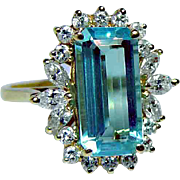 Vintage Marquise Diamond 5ct Aquamarine Ring 18K Gold Estate GIA