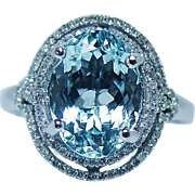 Vintage 3.5ct Aquamarine Diamond 14K White Gold Ring Estate Jewelry