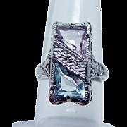 Art Deco Aquamarine Kunzite Filigree Ring 14K Gold Estate JJ White Vintage circa 1920s